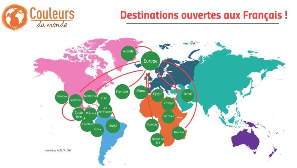 destinations ouvertes au 27nov